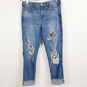 Hollister High Rise Distressed Boyfriend Jeans